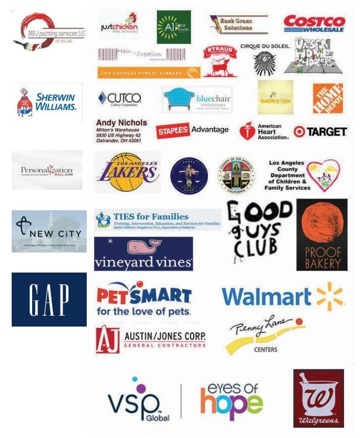 A graphic with all of our donors - we are so thankful for their contributions.